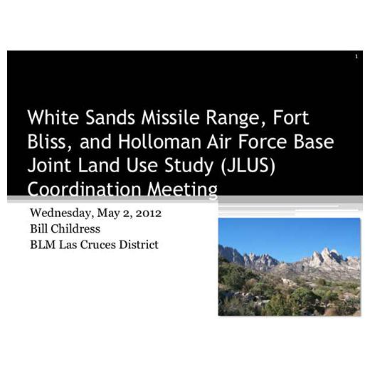 JLUS Partner Briefing BLM Las Cruces District (PDF)